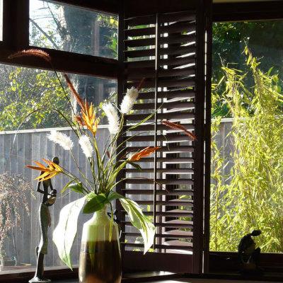 Dark wooden shutters